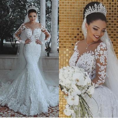 Luxus Brautkleider Mit Ärmel | Hochzeitskleider Meerjungfrau Spitze_4