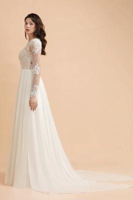 Schlichtes Brautkleid A Linie | Hochzeitskleider mit Ärmel_5