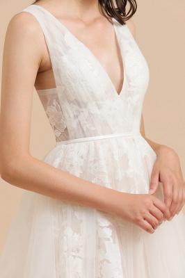 Designer Brautkleid V Ausschnitt | Hochzeitskleider A Linie_7