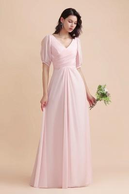 Brautjungfernkleider Rosa | Hochzeitspartykleider mit Ärmel_4