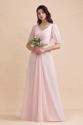 Brautjungfernkleider Rosa | Hochzeitspartykleider mit Ärmel_1