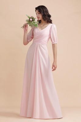 Brautjungfernkleider Rosa | Hochzeitspartykleider mit Ärmel_5
