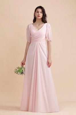 Brautjungfernkleider Rosa | Hochzeitspartykleider mit Ärmel_6