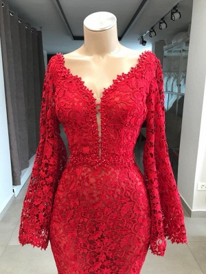 Fashion Abendkleider Lang Rot Spitze | Abendkleid Mit Ärmel_3