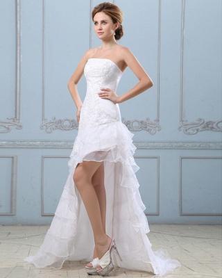Sexy Weiß Hochzeitskleider Kurz Lang A Linie Spitze Brautkleider Hochzeitsmoden_4