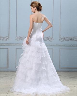 Sexy Weiß Hochzeitskleider Kurz Lang A Linie Spitze Brautkleider Hochzeitsmoden_6