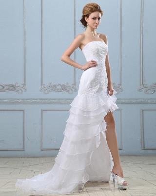 Sexy Weiß Hochzeitskleider Kurz Lang A Linie Spitze Brautkleider Hochzeitsmoden_3