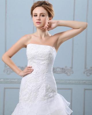Sexy Weiß Hochzeitskleider Kurz Lang A Linie Spitze Brautkleider Hochzeitsmoden_5