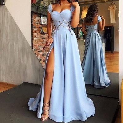 Hell Blaues Abendkleider Lang Günstig | Abiballkleider Online Kaufen_3