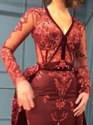 Burgundy Abendkleider mit Ärmel | Velvet Abendkleid Günstig Online_4