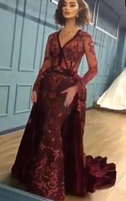 Burgundy Abendkleider mit Ärmel | Velvet Abendkleid Günstig Online_1