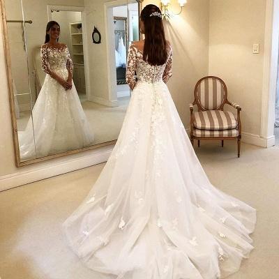 Elegante Hochzeitskleider Mit Spitze   Brautkleider Lange Ärmel_4