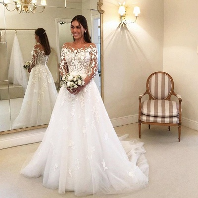Elegante Hochzeitskleider Mit Spitze   Brautkleider Lange Ärmel_2