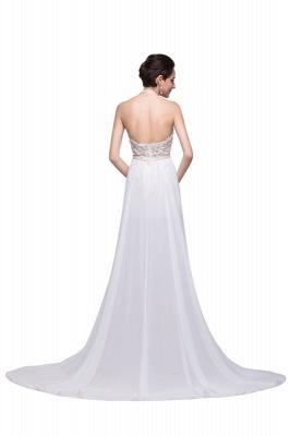 Schlichtes Abendkleid Lang Weiß | Abiballkleider mit Spitze_4