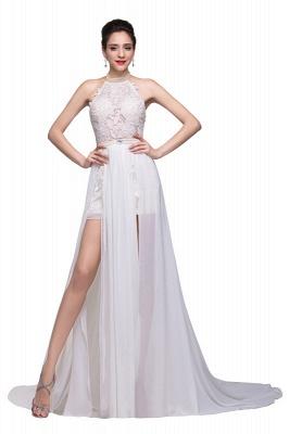 Schlichtes Abendkleid Lang Weiß | Abiballkleider mit Spitze_3