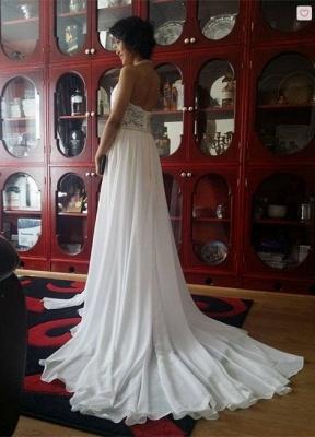 Schlichtes Abendkleid Lang Weiß | Abiballkleider mit Spitze_2