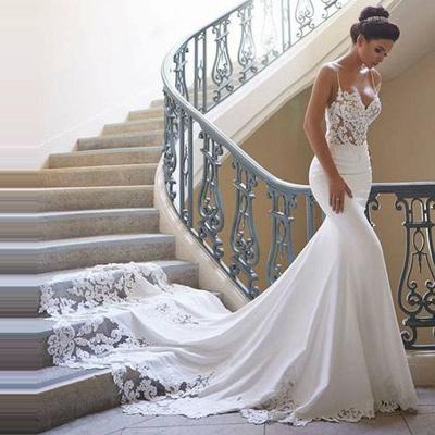 Elegante Brautkleid Weiß | Hochzeitskleid Meerjungfrau Mit Spitze_3