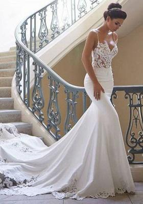 Elegante Brautkleid Weiß | Hochzeitskleid Meerjungfrau Mit Spitze_2