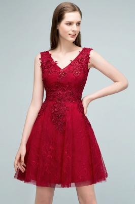 Elegante Kurze Cocktailkleider Rot V Ausschnitt Knielange Abendkleider Günstig Online_5