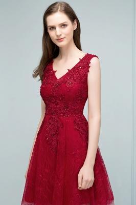 Elegante Kurze Cocktailkleider Rot V Ausschnitt Knielange Abendkleider Günstig Online_3