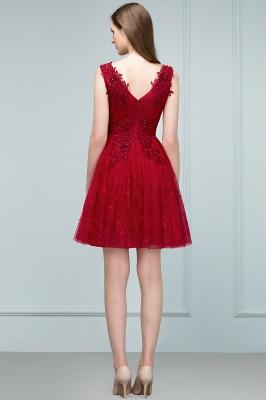 Elegante Kurze Cocktailkleider Rot V Ausschnitt Knielange Abendkleider Günstig Online_4