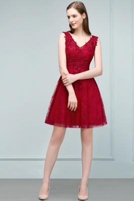 Elegante Kurze Cocktailkleider Rot V Ausschnitt Knielange Abendkleider Günstig Online_2