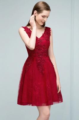 Elegante Kurze Cocktailkleider Rot V Ausschnitt Knielange Abendkleider Günstig Online_6