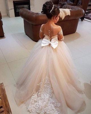 Günstige Blumenmädchenkleider Mit Ärmel Spitze A Line Tüll Kleider für Blumenmädchen Hochzeitskleider