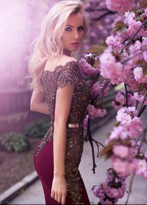Designer Abendkleider Lang Günstig Perlen Festliche Kleider Abendmode_5