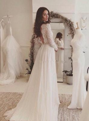Sommer Weiß Brautkleider Lang Ärmel Spitze | Chiffon Hochzeitskleider Brautmoden Günstig_1