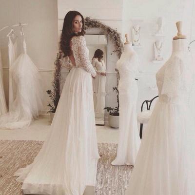 Sommer Weiß Brautkleider Lang Ärmel Spitze | Chiffon Hochzeitskleider Brautmoden Günstig_2