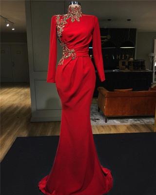 Abendkleid Rot Lang Günstig   Abendkleider mit Ärmel_1