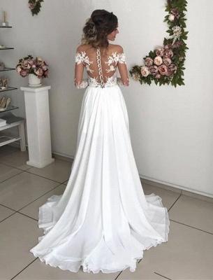 Schlichtes Brautkleid Mit Spitze   Hochzeitskleider mit Ärmel_4