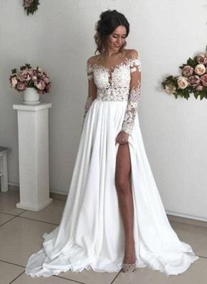 Schlichtes Brautkleid Mit Spitze   Hochzeitskleider mit Ärmel_1
