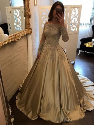 Designer Golden Brautkleider Mit Ärmel Lang Prinzessin Hochzeitskleider Günstig Online_1