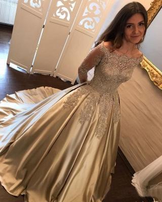 Designer Golden Brautkleider Mit Ärmel Lang Prinzessin Hochzeitskleider Günstig Online_4