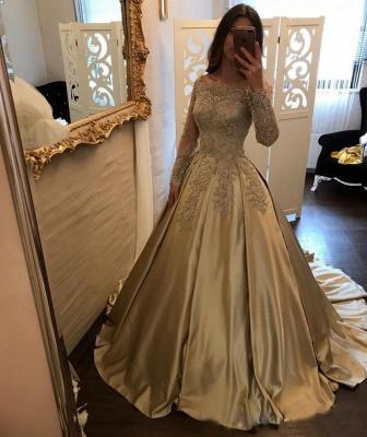 Designer Golden Brautkleider Mit Ärmel Lang Prinzessin Hochzeitskleider Günstig Online_3