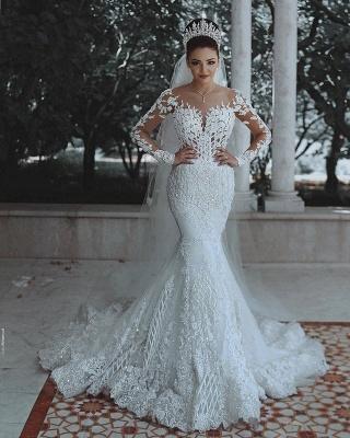 Luxus Brautkleider Mit Ärmel | Hochzeitskleider Meerjungfrau Spitze_2