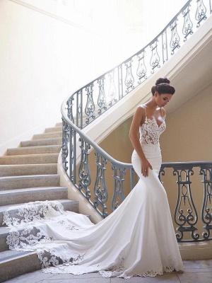 Elegante Brautkleid Weiß | Hochzeitskleid Meerjungfrau Mit Spitze_1