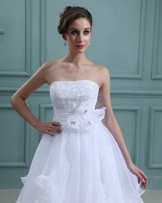 Schlicht Brautkleider Kurz Weiß Mit Spitze Organza Brautmoden Hochzeitskleider_4