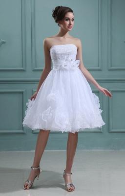 Schlicht Brautkleider Kurz Weiß Mit Spitze Organza Brautmoden Hochzeitskleider_1