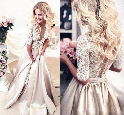 Vintage Brautkleid A Linie   Hochzeitskleider Mit Spitze Ärmel_3