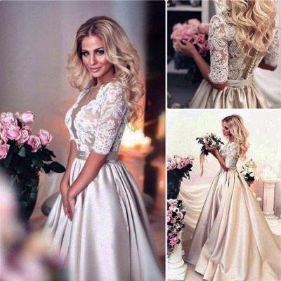 Vintage Brautkleid A Linie   Hochzeitskleider Mit Spitze Ärmel_5