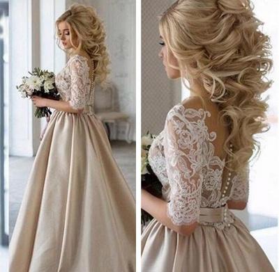 Vintage Brautkleid A Linie   Hochzeitskleider Mit Spitze Ärmel_2
