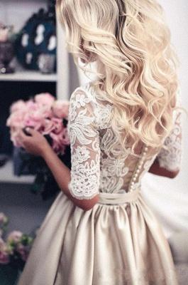 Vintage Brautkleid A Linie   Hochzeitskleider Mit Spitze Ärmel_4