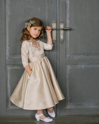 Elegante Blumenmädchenkleider mit Ärmel Kleider für Kinder Günstig Online