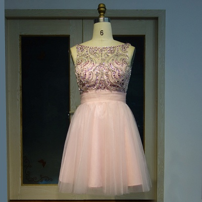 Rosa Cocktailkleider Kurz Perlen A Linie Tulle Abendkleider Abiballkleider_5