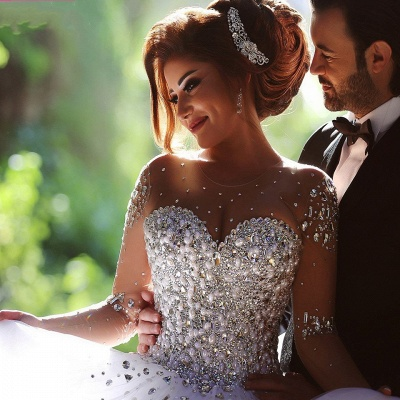 Luxus Brautkleider Prinzessin mit Ärmel | Hochzeitskleider Mit Glitzer_6